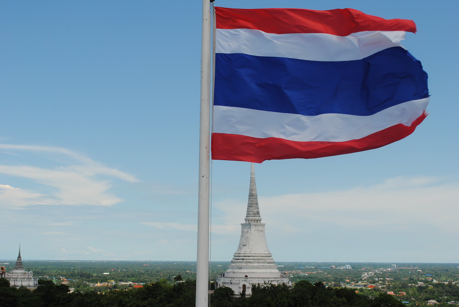 View from top of mountain, Thai flag
