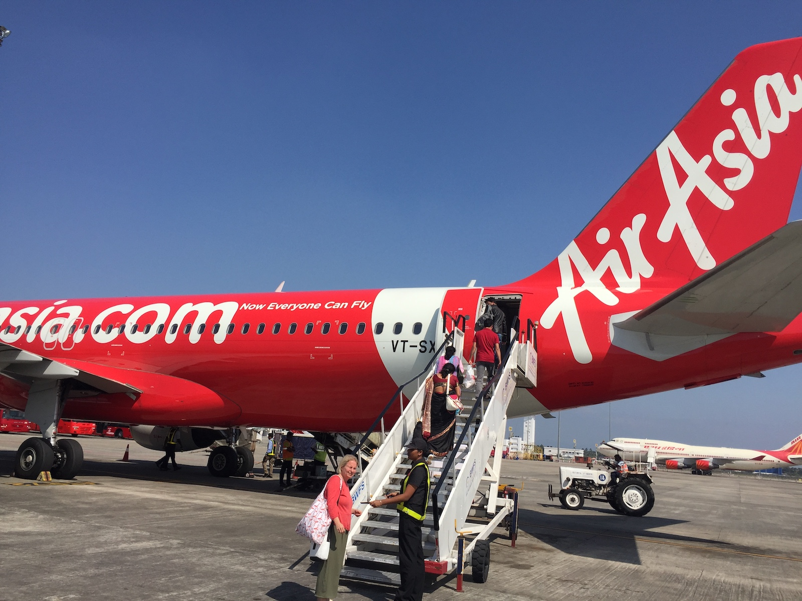 Getting on the Air Asia flight from Kochi to Goa, India