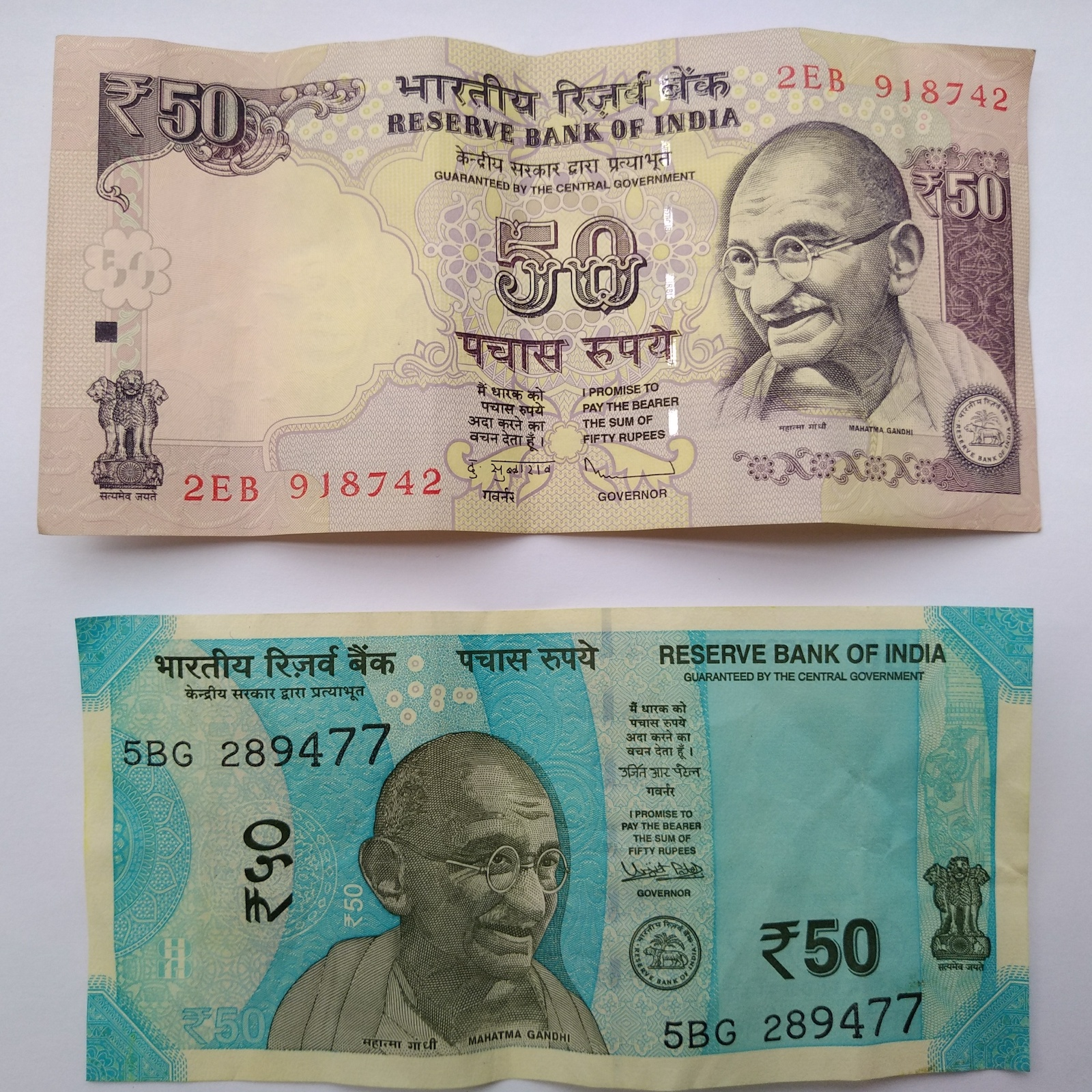 Money of India, old and new edition