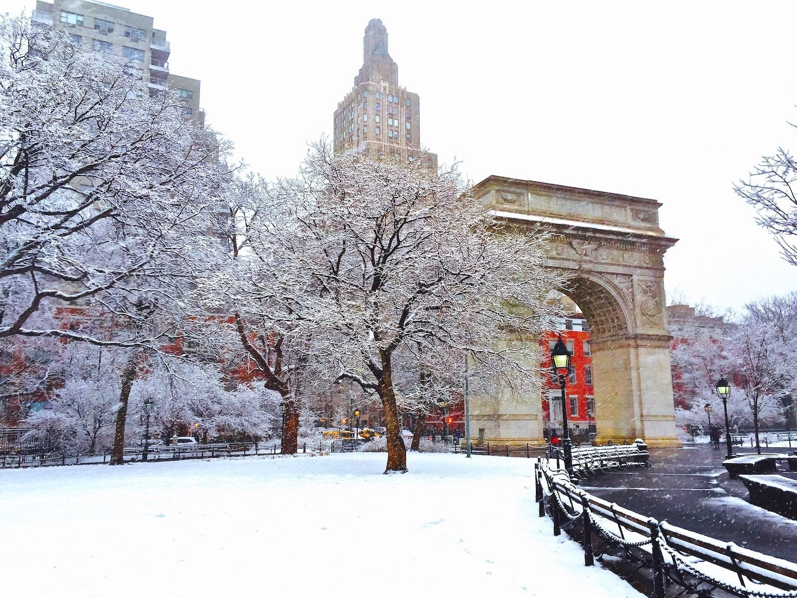 Washington Square Park in snow, New York City, USA