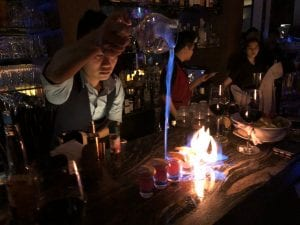 Pouring Fire Shots Blanchy's Tash Bar Saigon