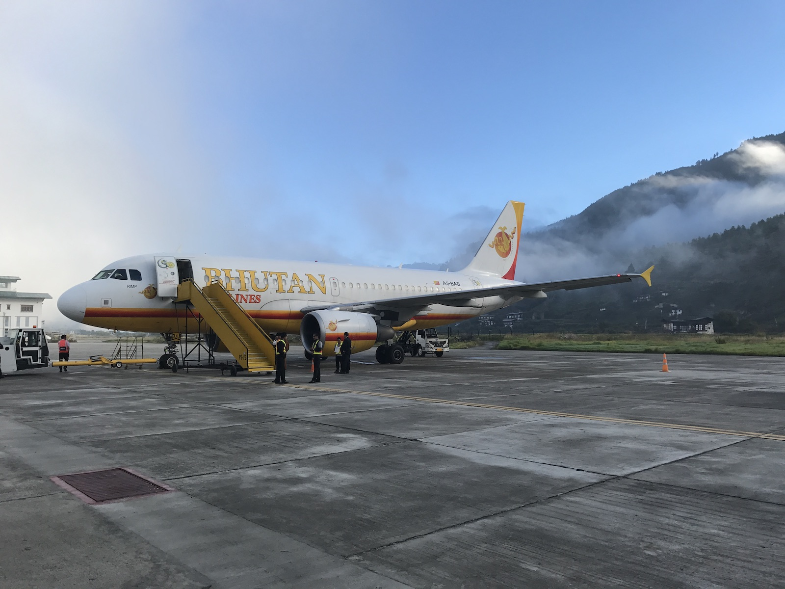 Boarding Bhutan Airlines flight