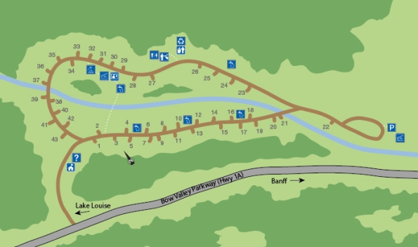 Castle Mountain Camping Map