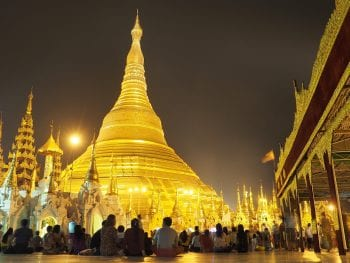 Myanmar temple at night
