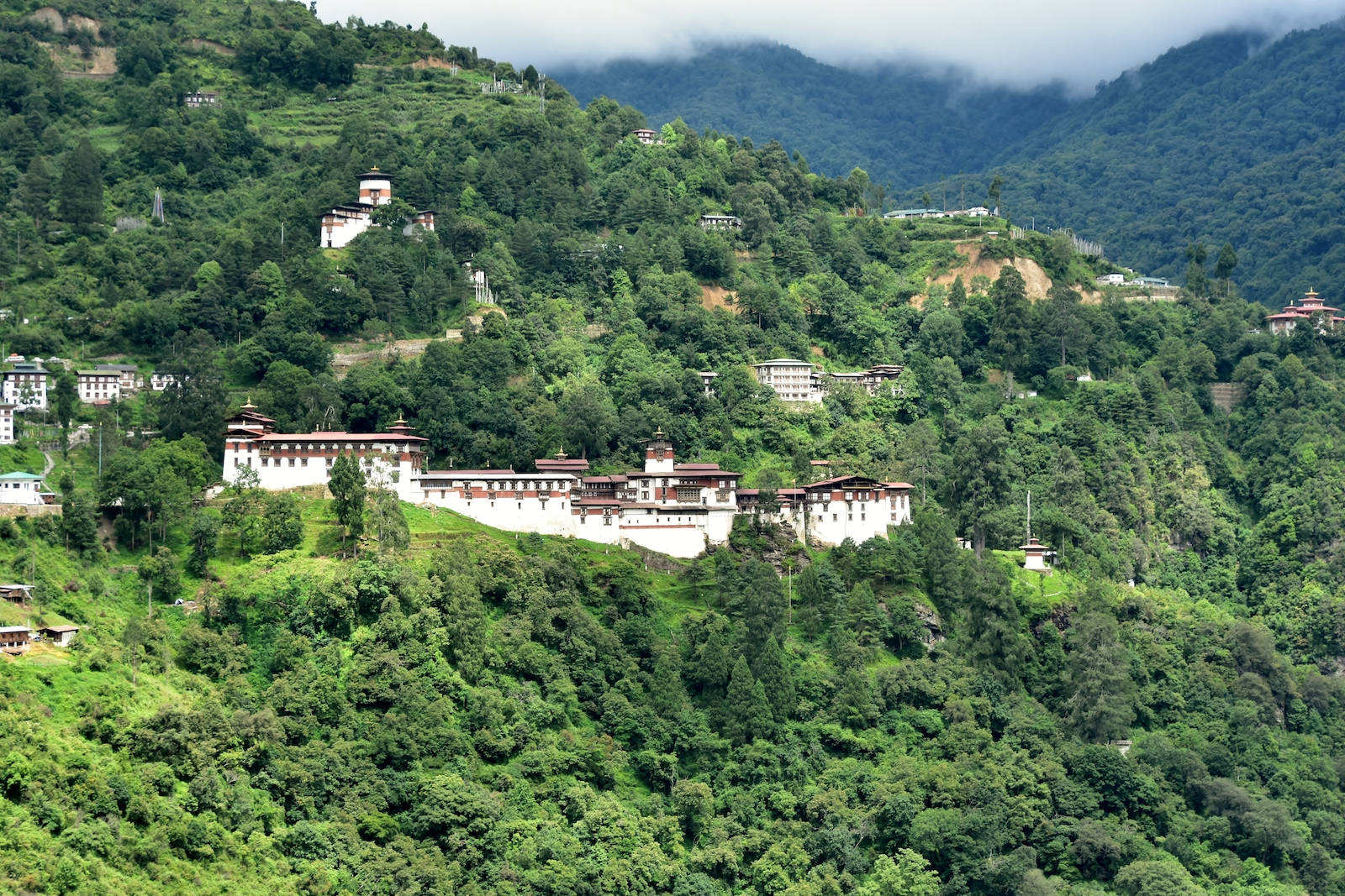 Trongsa Dzong seen from afar, Bhutan