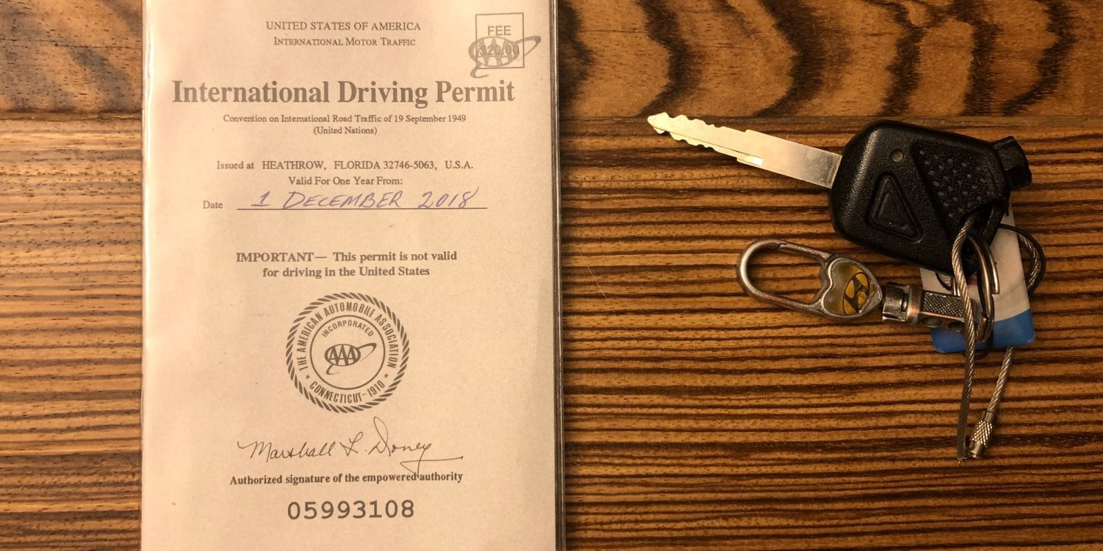 International Drivers License Permit AAA Honda Motorbike Keys