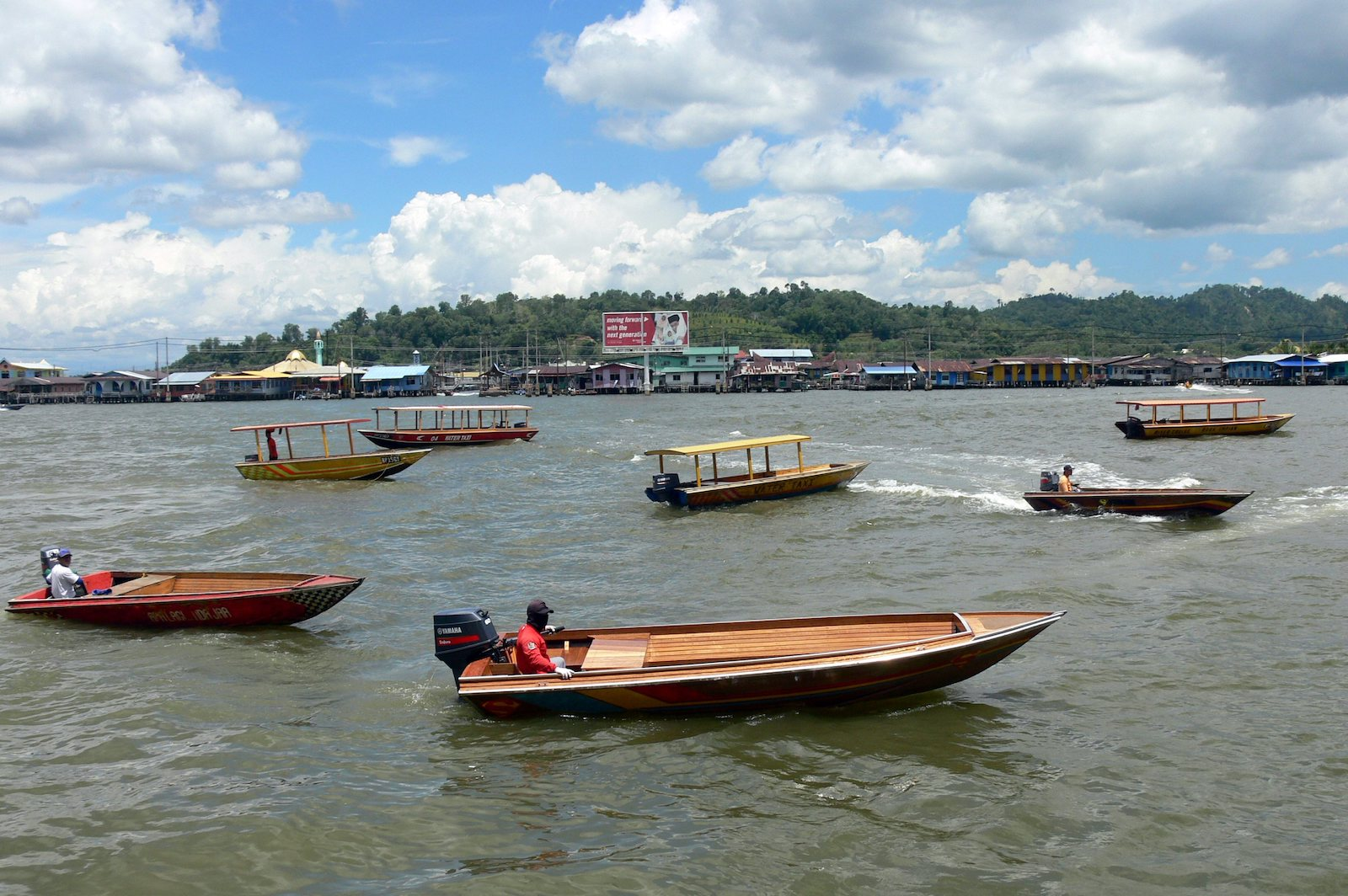 Brunei River with water taxis
