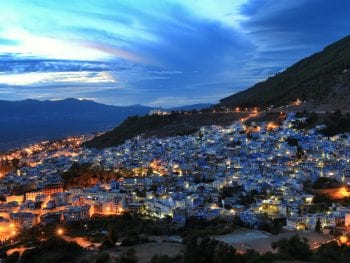 Chefchaouen , a lovely town located among the Rif Mountains , Morocco