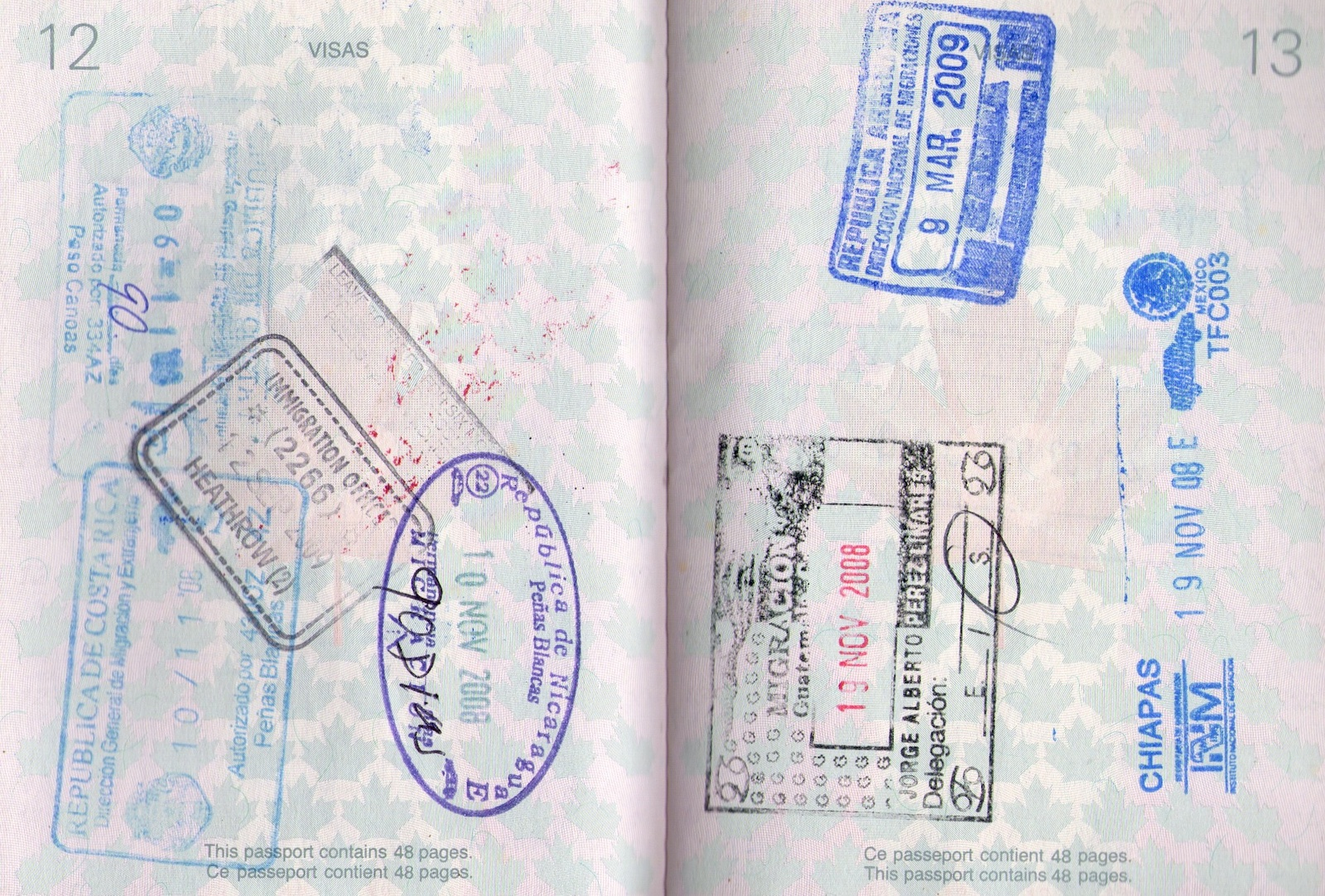 Passport stamp for Costa Rica, UK, Nicaragua, Guatemala, Mexico, Argentina.