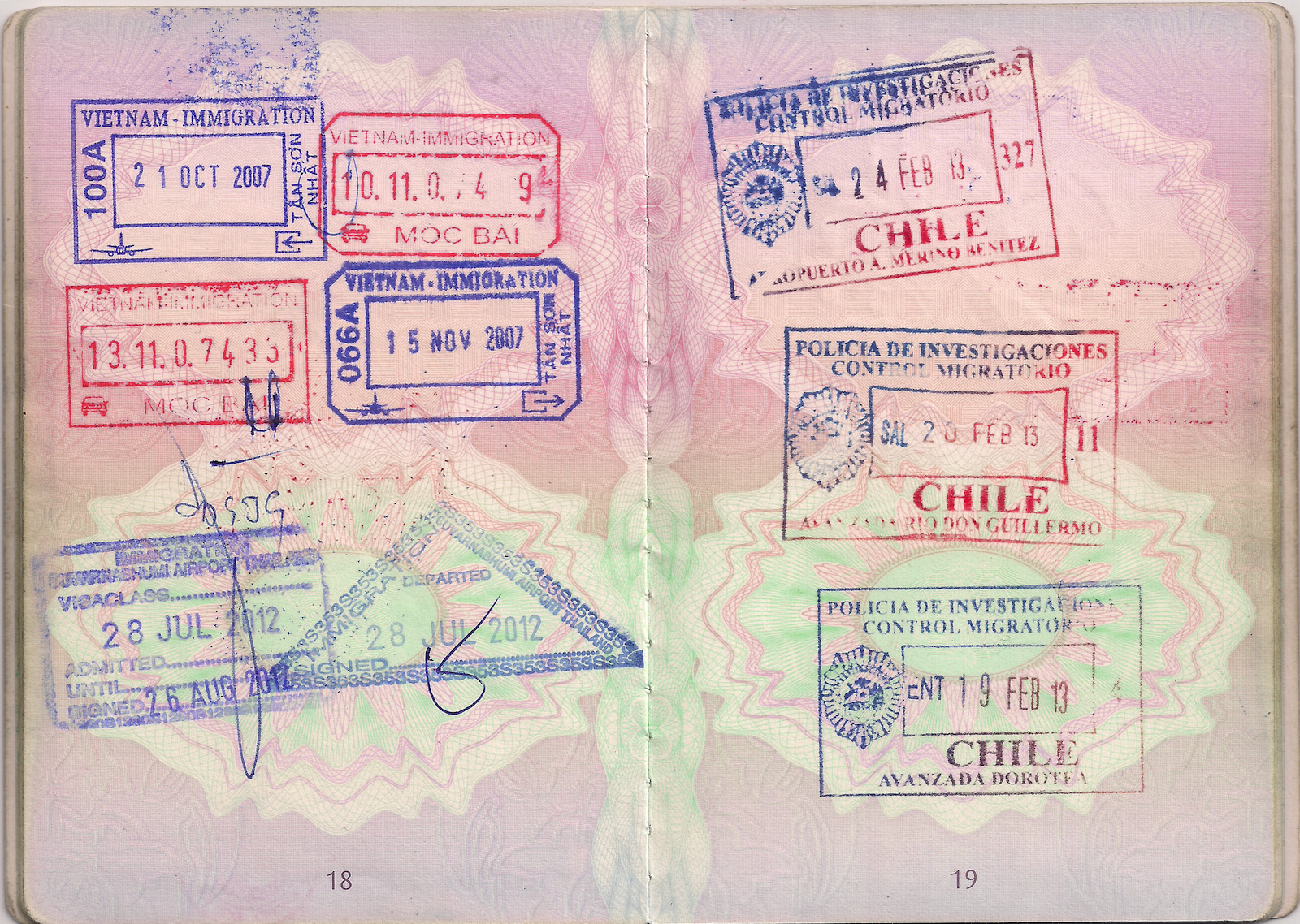 Passport stamp for Chile,