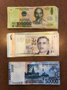 Cash Abroad Foreign Currency Vietnam Dong Singapore Dollar Indonesia Rupiah