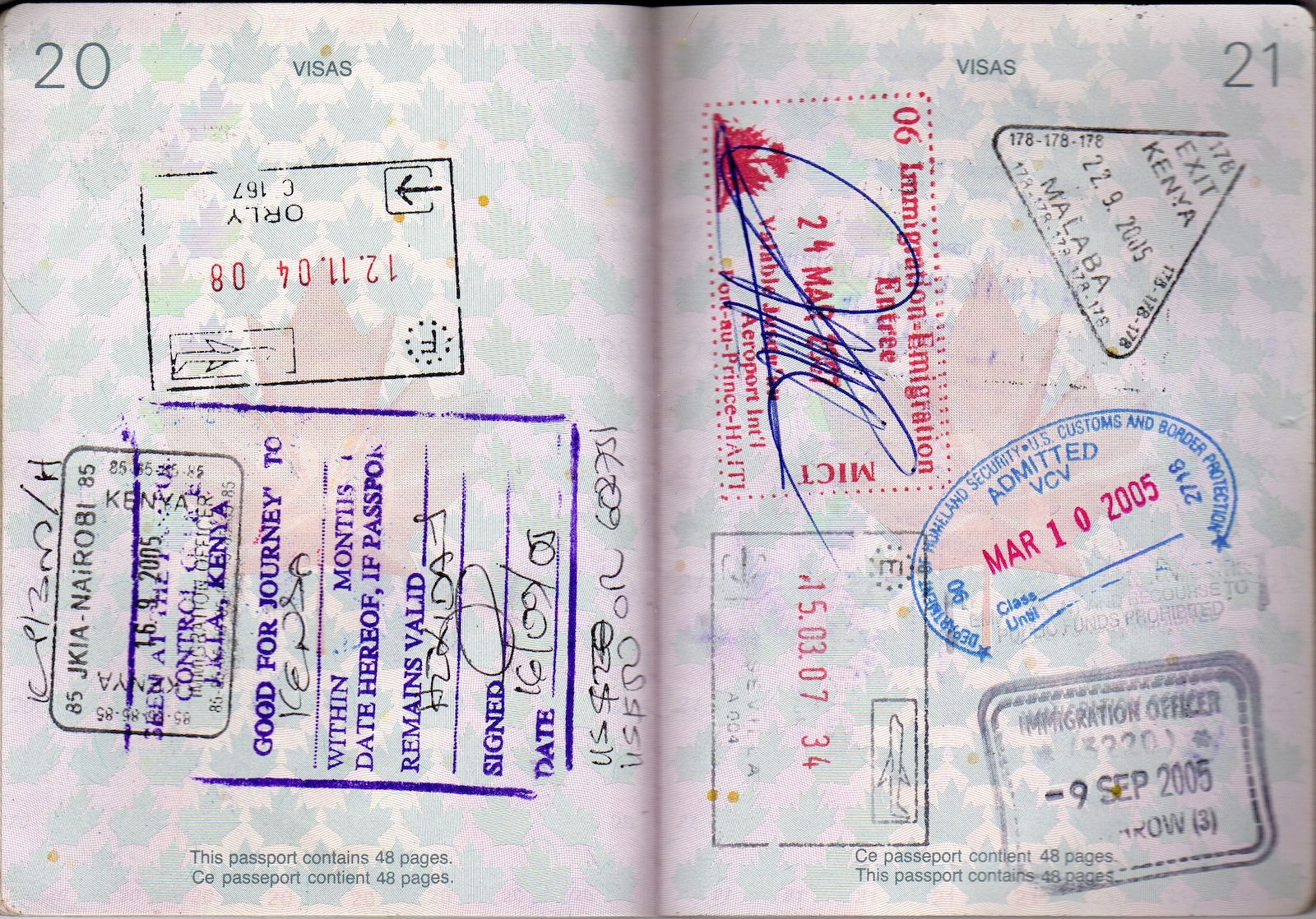 Passport stamp for Spain