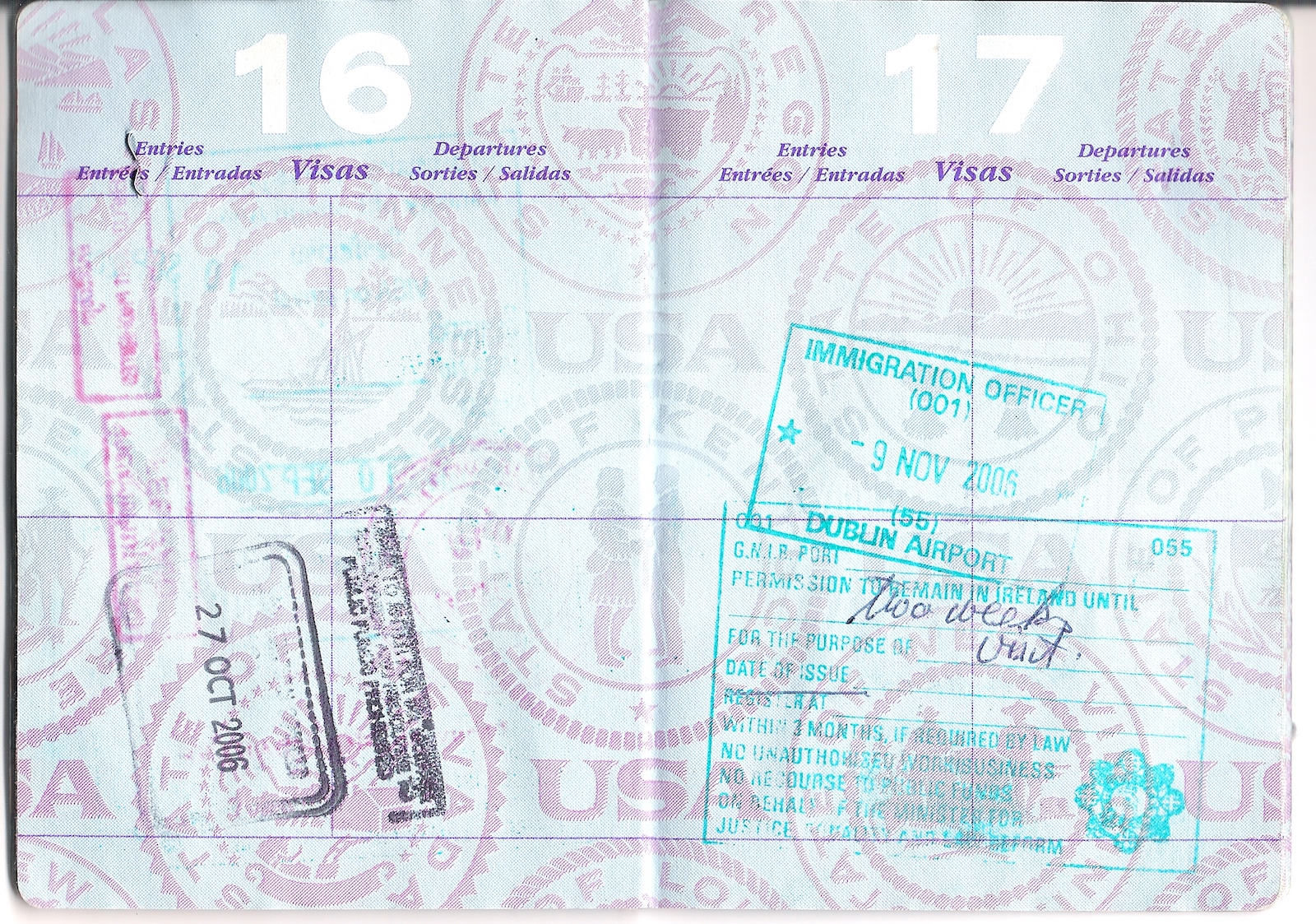 Passport visa for Ireland and the UK entry in Scotland