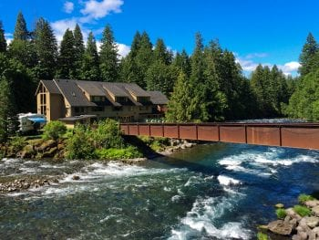 Enjoy the natural scenic surroundings at Belknap Hot Springs in McKenzie Bridge, Oregon.