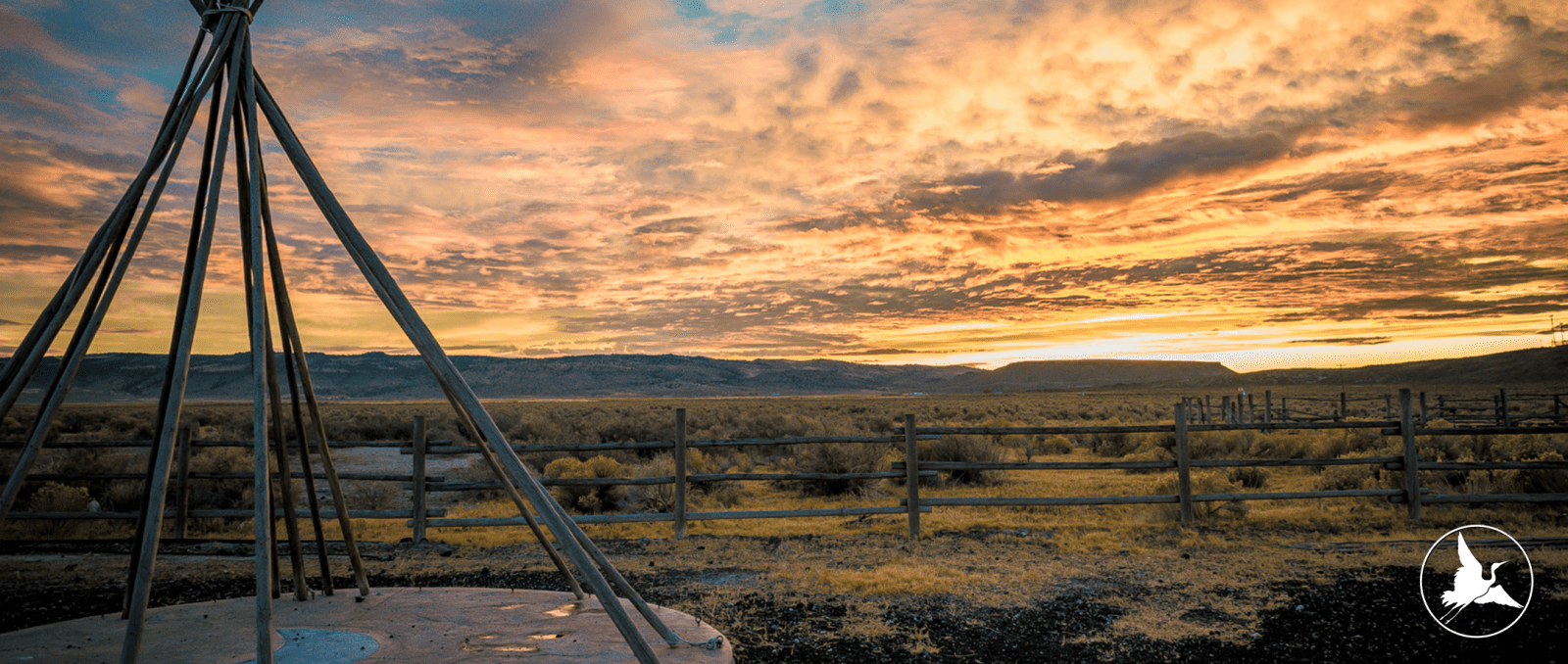 Scenic View and Wooden Tipi at Crystal Crane Hot Springs