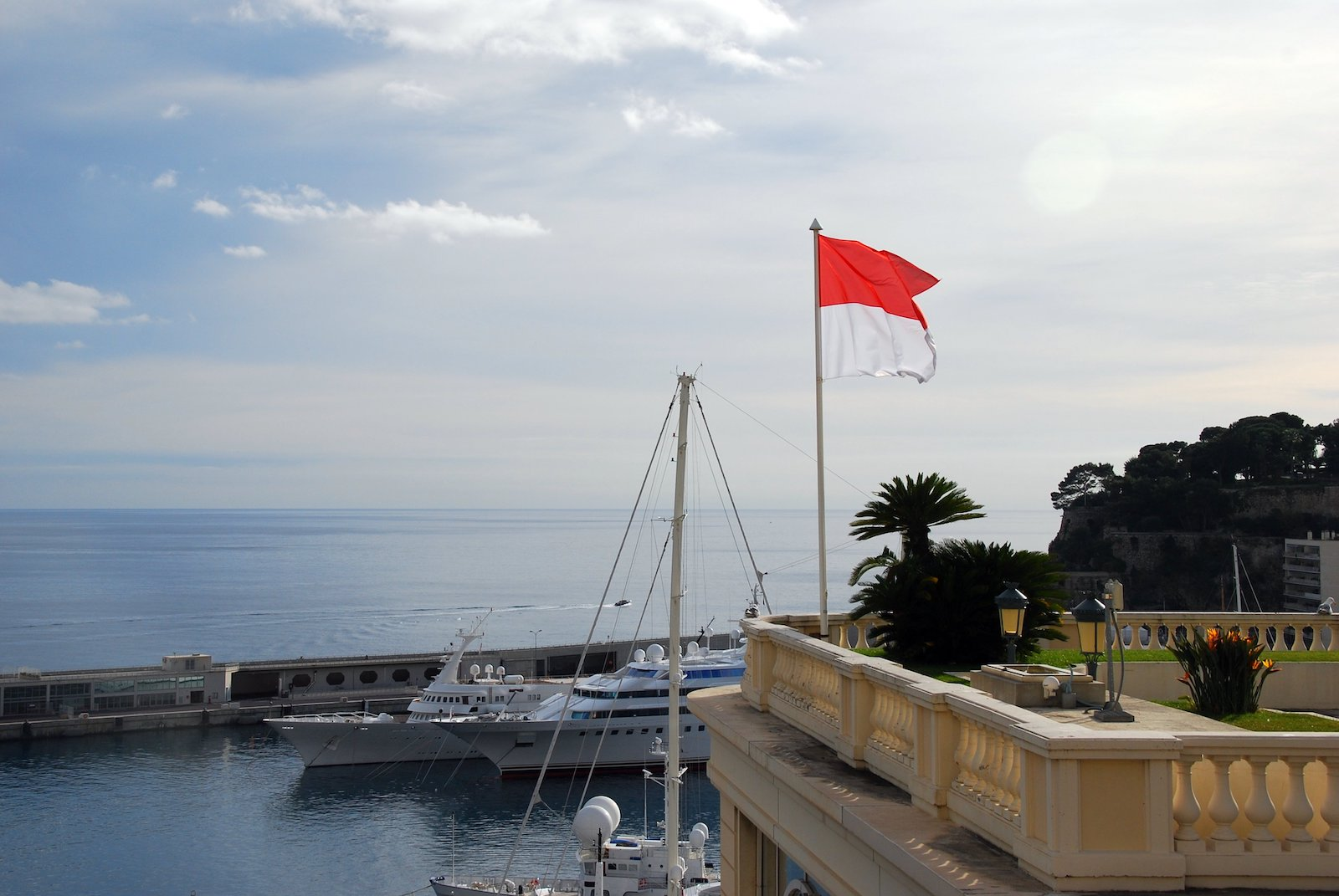 Monaco harbour and flag