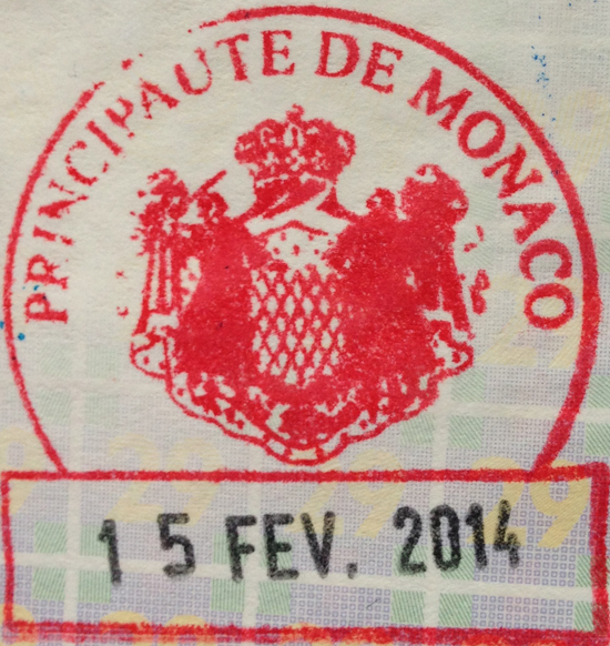 Monaco passport stamp