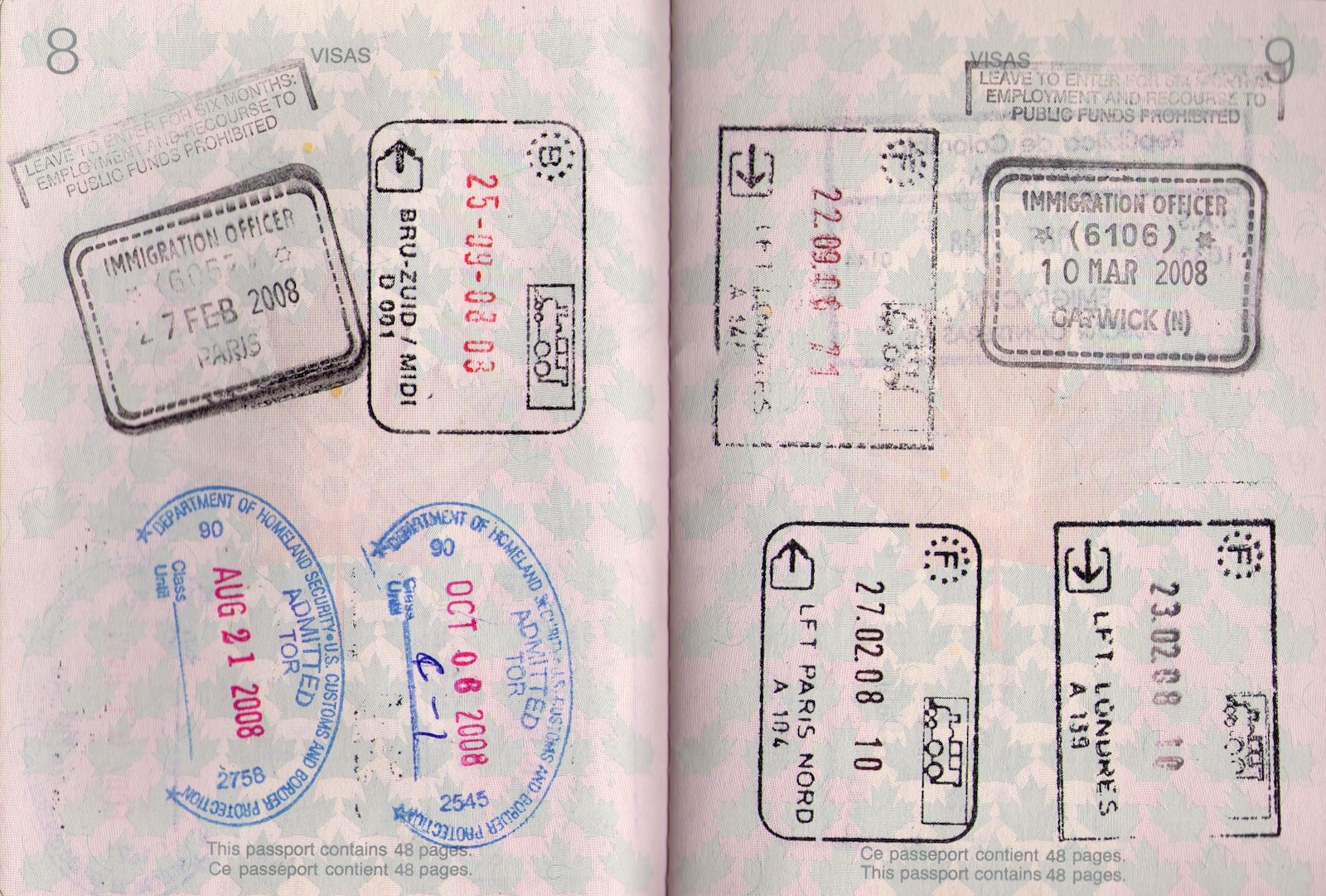 Passport stamp Belgium