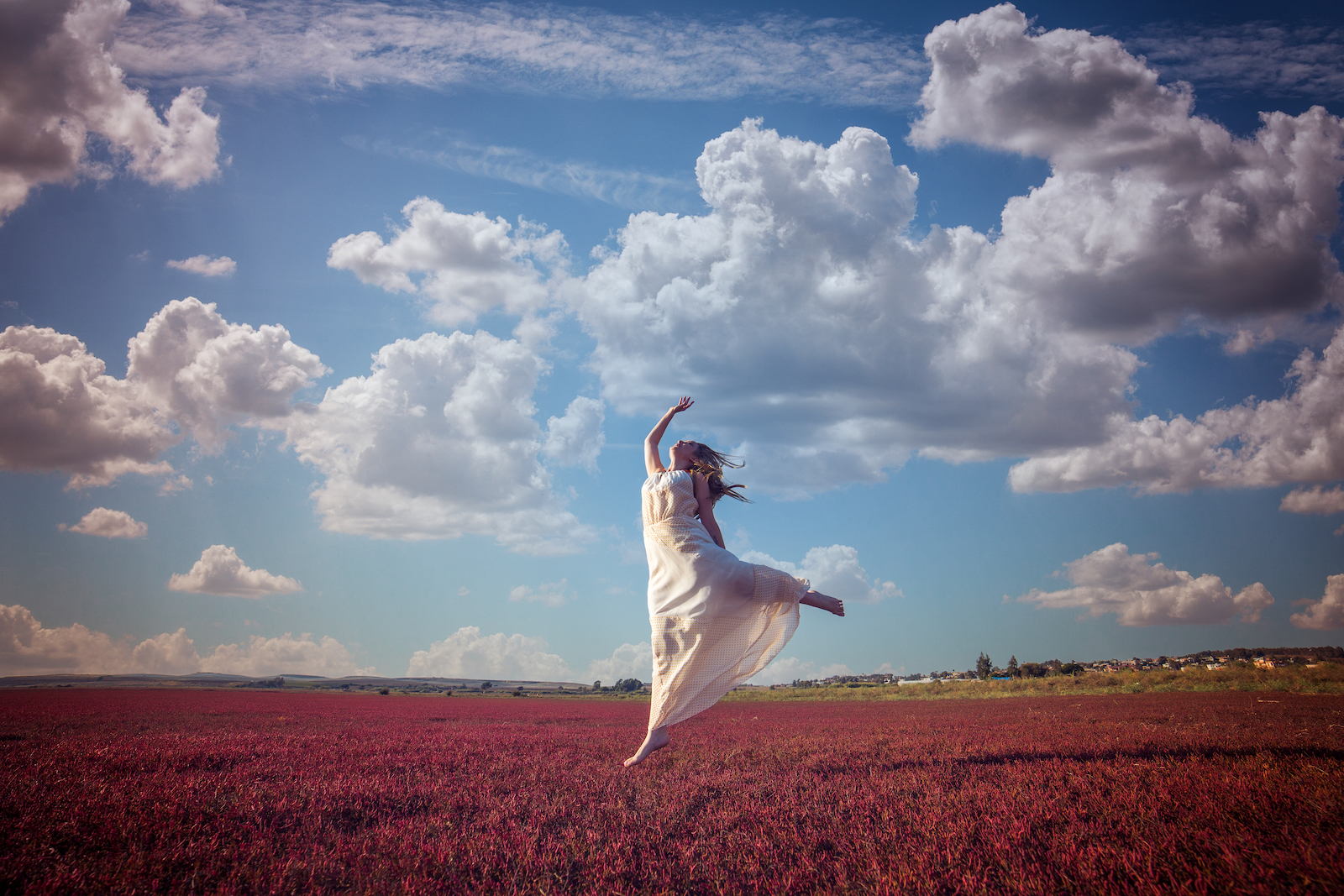 Mindfulness Woman Jump in the Sky