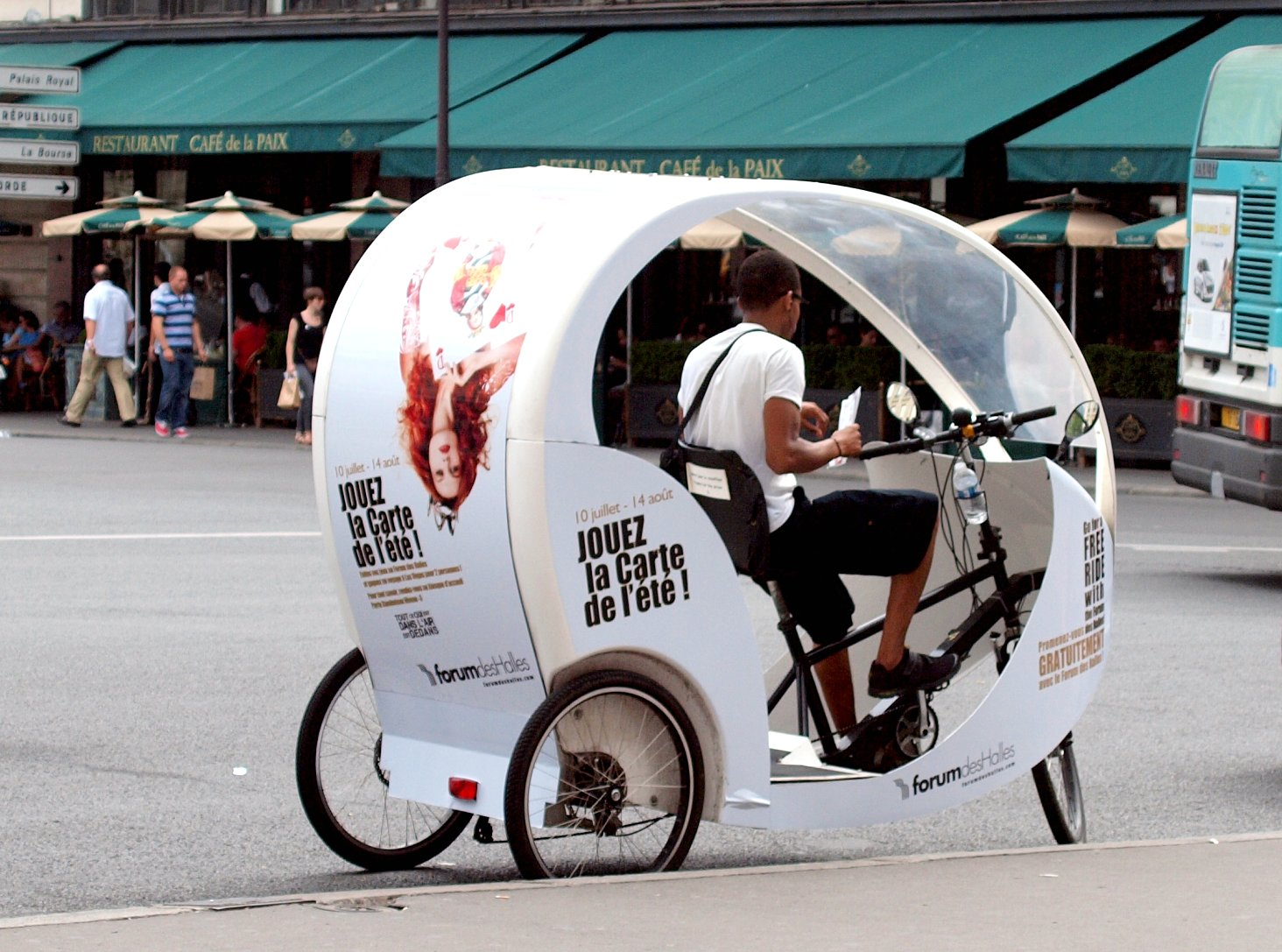 Bicycle taxi in Paris France