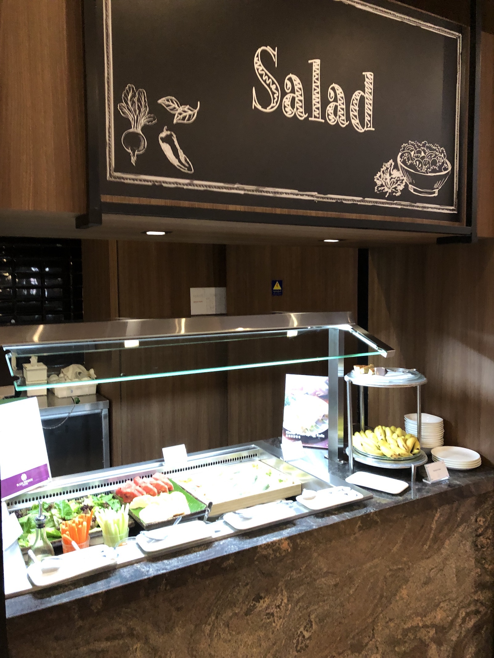 Salad choices at Plaza Premium Lounge