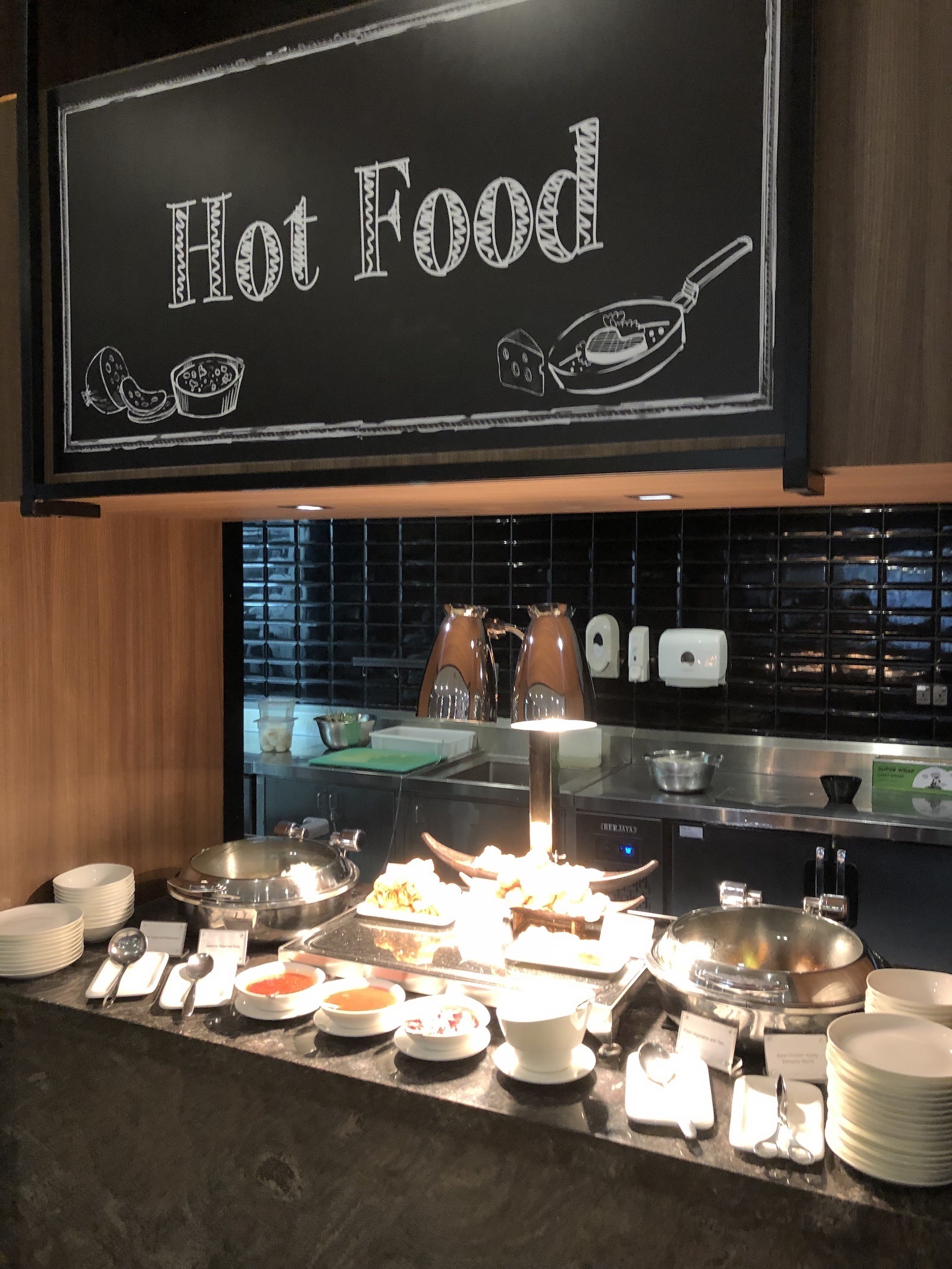 Hot food choices at Plaza Premium Lounge
