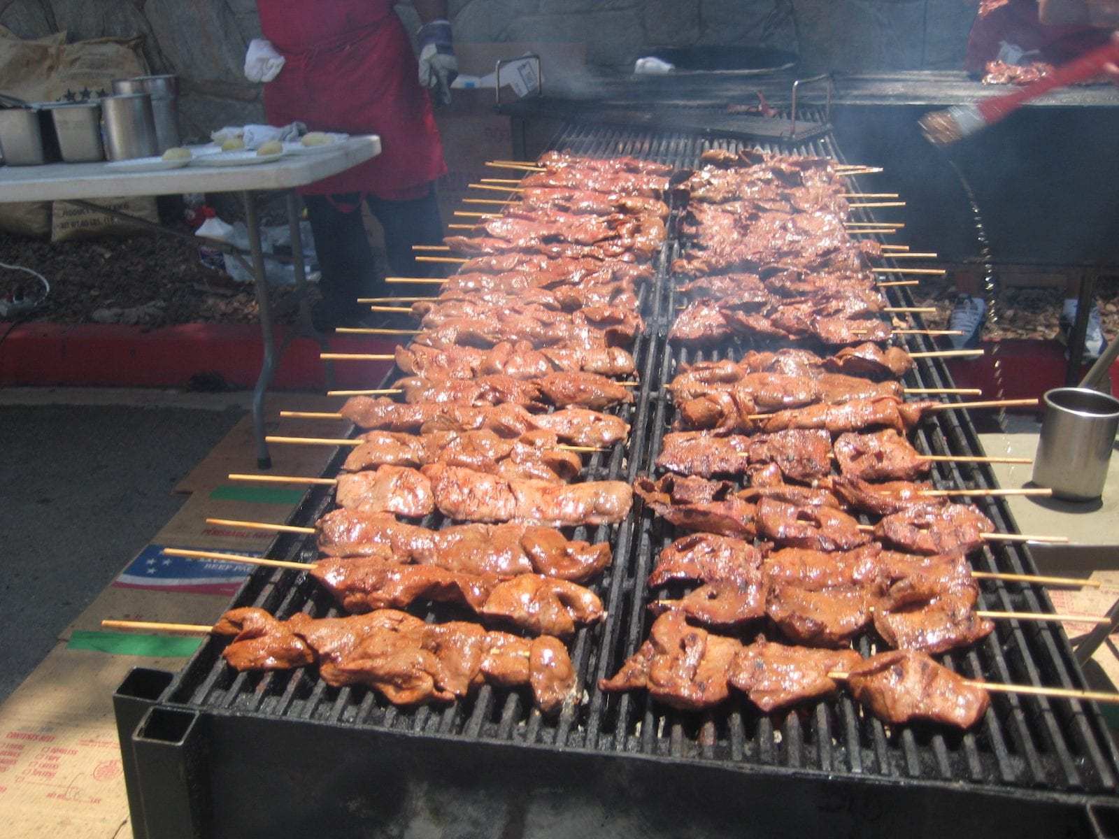 Anticuchos on the grill, Peru