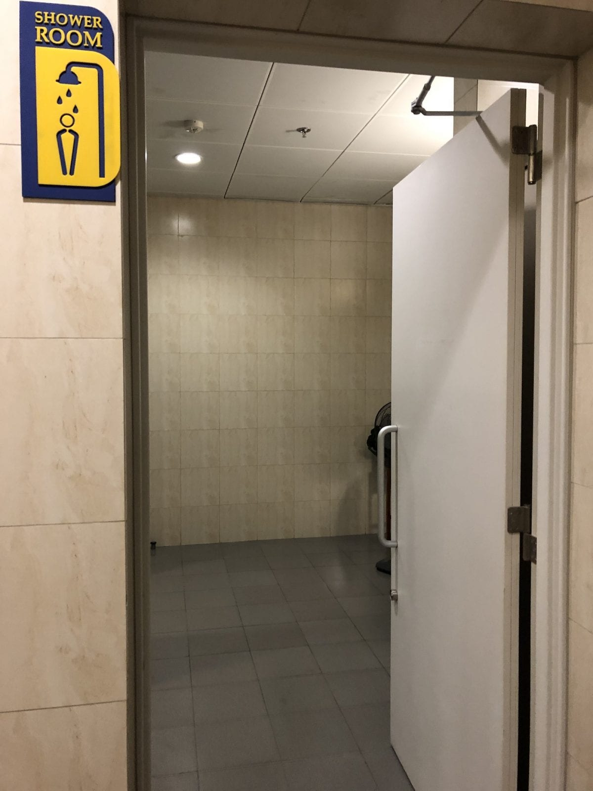 Shower room at Toilet at entrance to Sông Hồng Business Lounge, Noi Bai International Airport