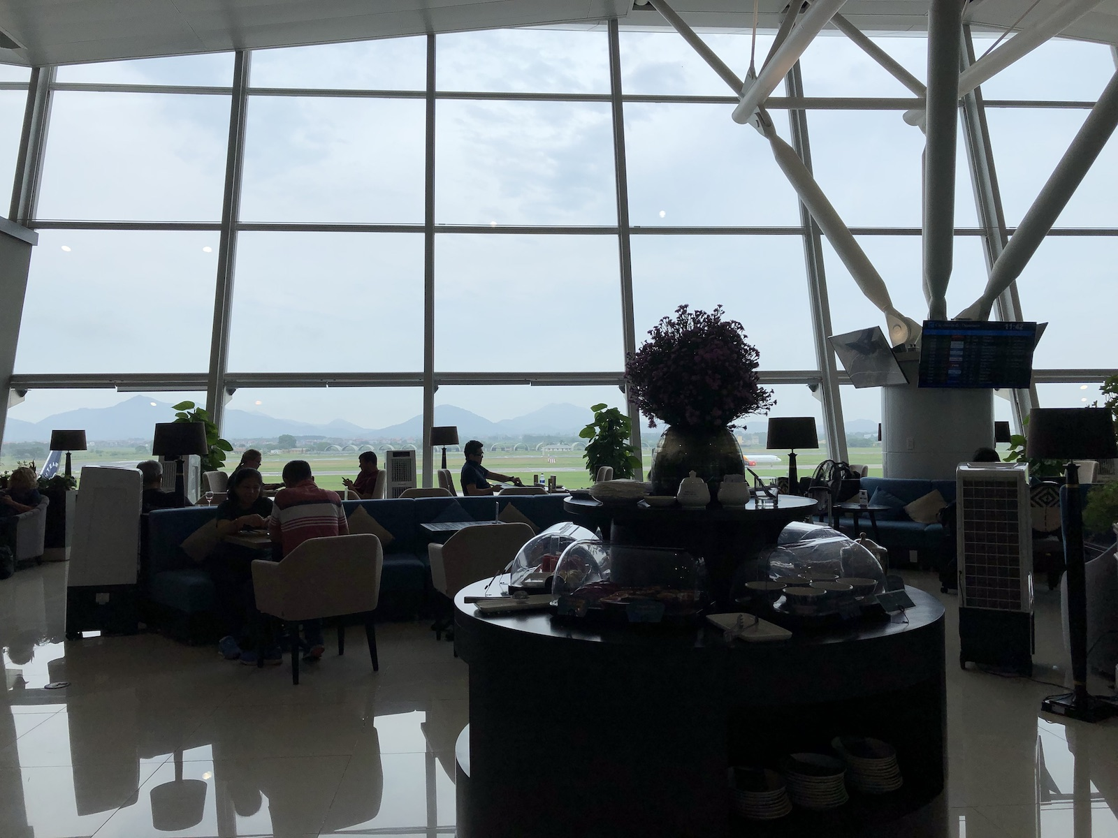 Song Hong Business Lounge Hanoi Airport Mountain Runway View