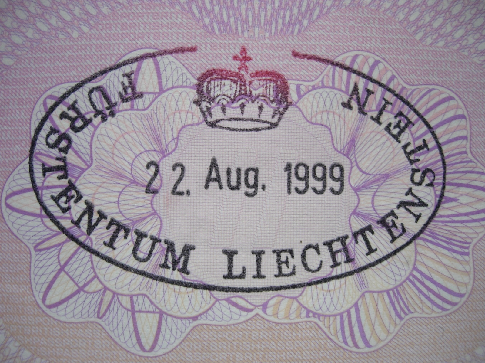 Passport stamp for Liechtenstein