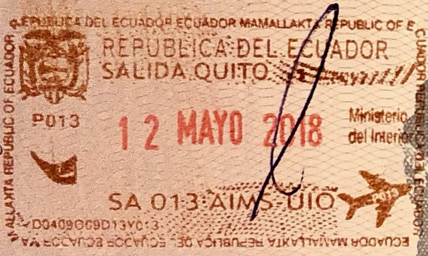 Ecuador passport stamp