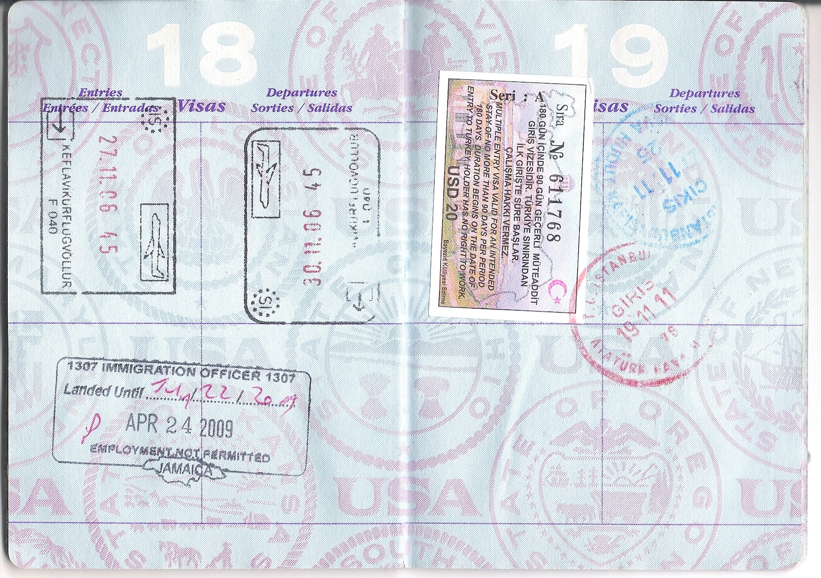 Passport stamps from Turkey, Jamaica and Iceland