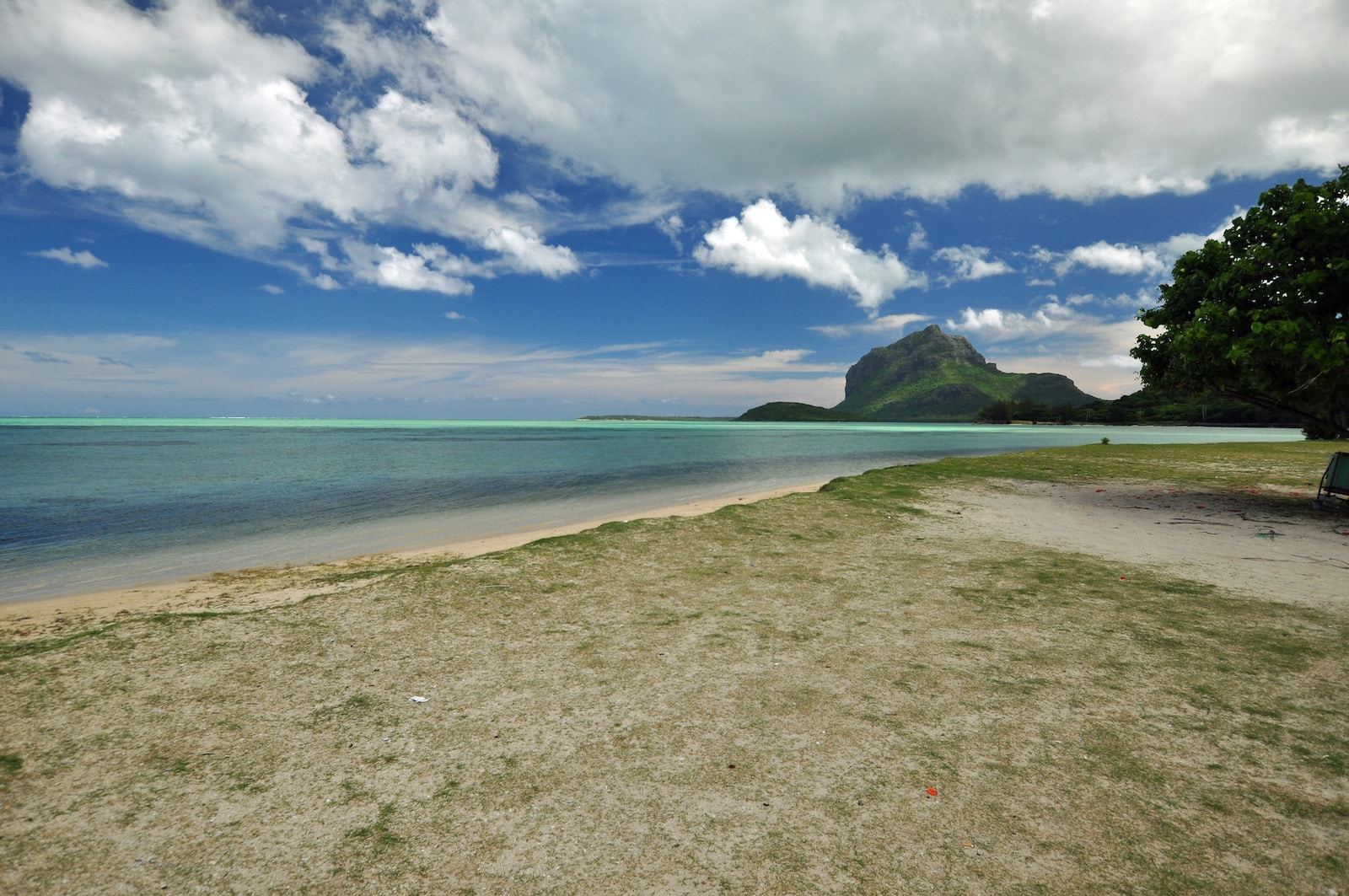 View of Le Morne Brabant from Le Morne Village, Mauritius