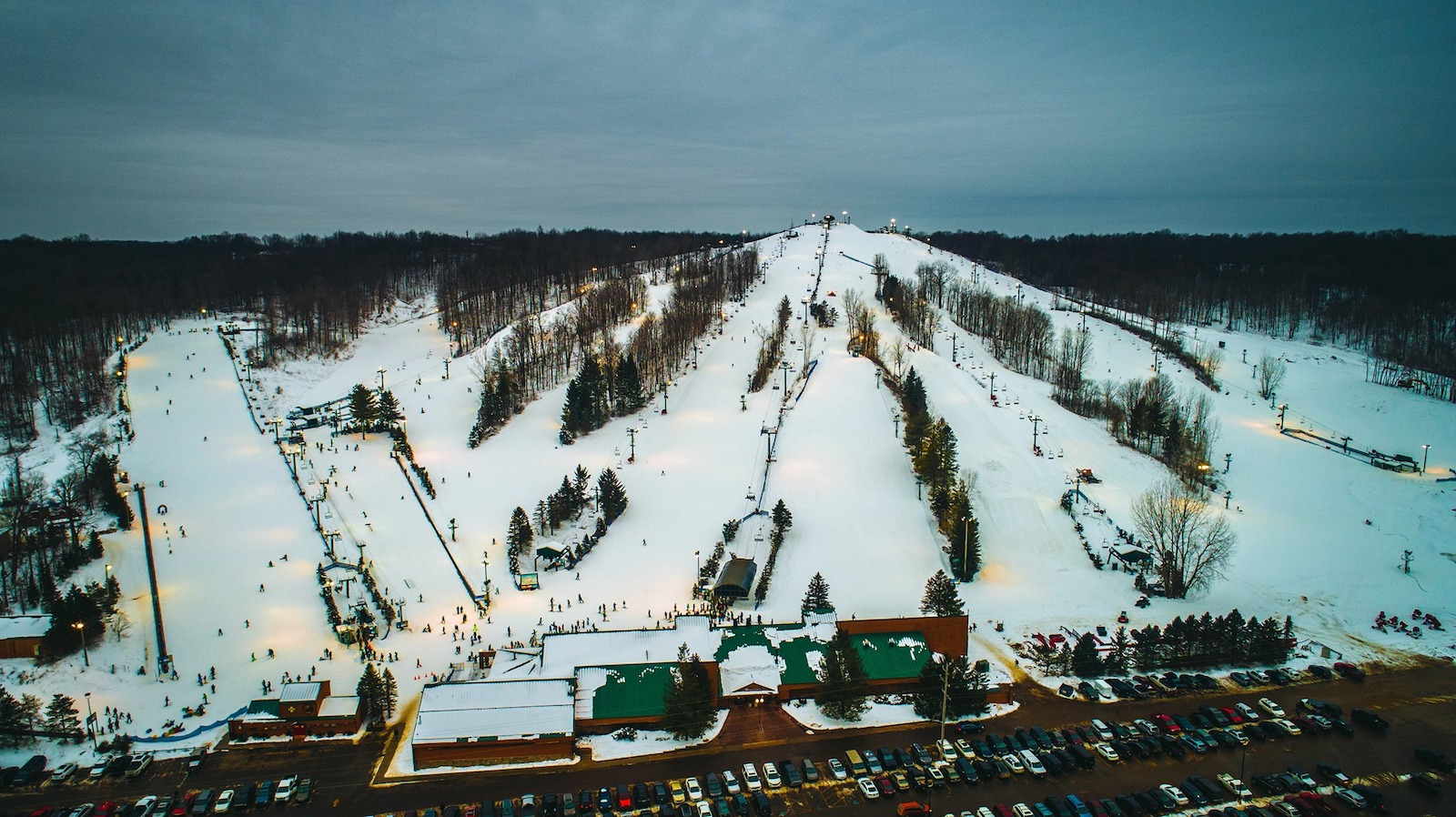 Image of aerial view of the trails at Bittersweet Ski Resort in Michigan