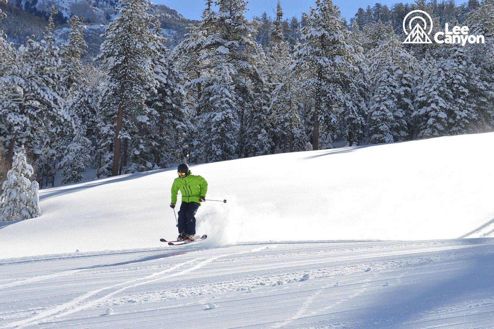 Image of a skier in a lime green coat going down the slopes at Lee Canyon in Las Vegas
