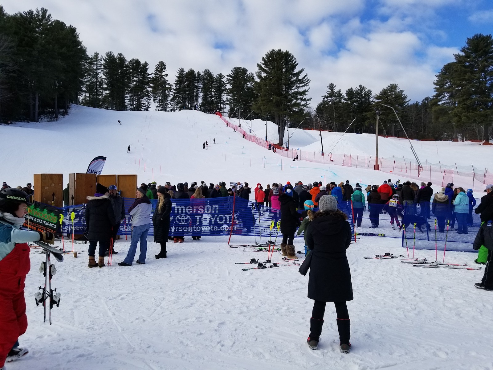 Image of visitors watching a competition at Lost Valley Ski Area in Maine