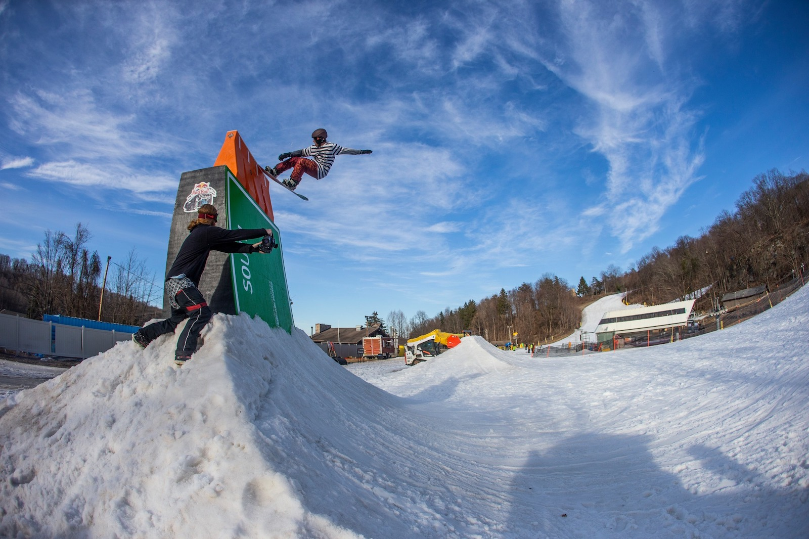 Image of snowboarder catching air at the terrain park at Mountain Creek in New Jersey