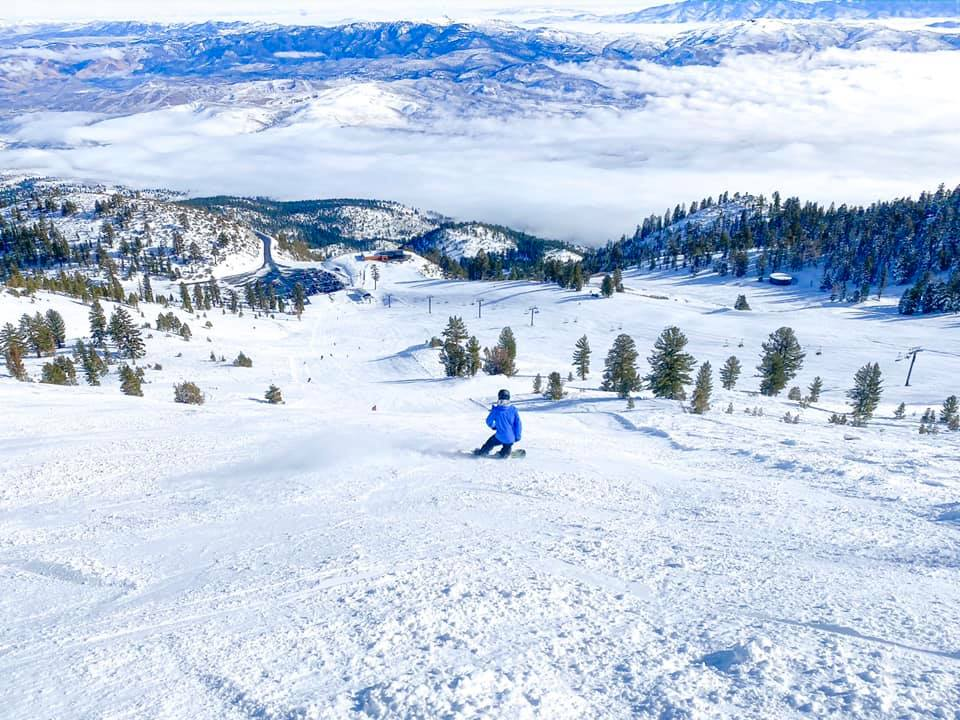 Image of a skier in blue doing down the slopes at Mt. Rose Ski Tahoe in Nevada