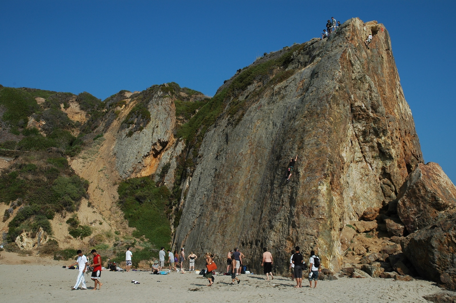 Rock climbers and observers at Point Dume, California