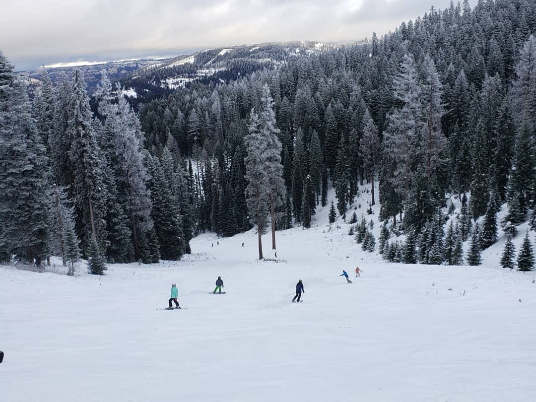 Image of snowboarders and skiers going down the slopes at Bluewood in Washington