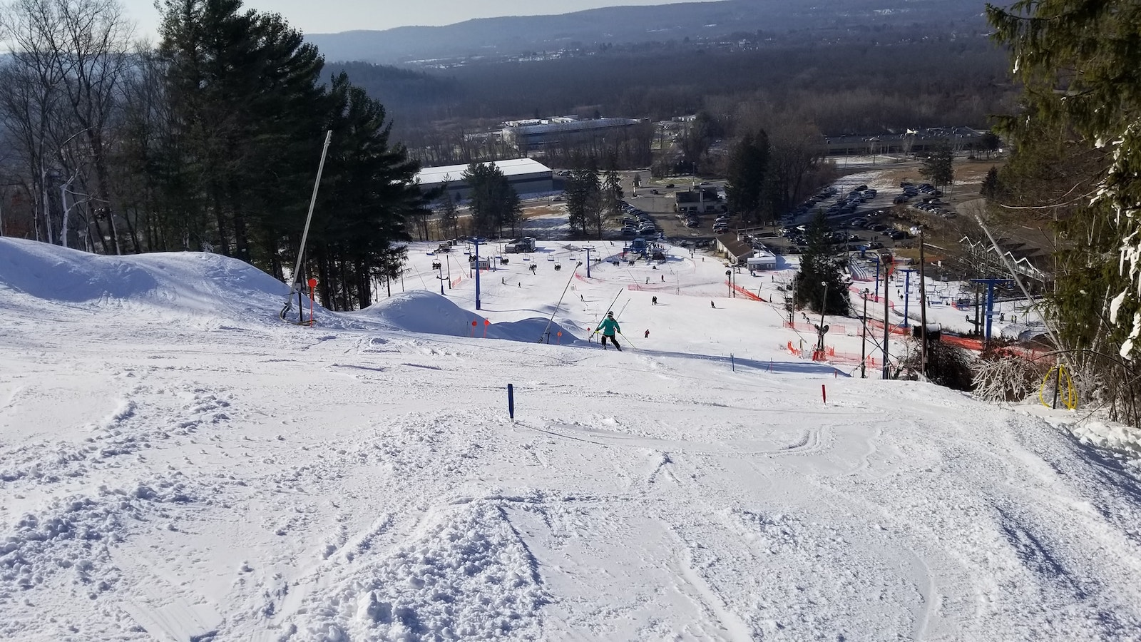 Image from the top of the slopes at Thunder Ridge Ski Area in New York