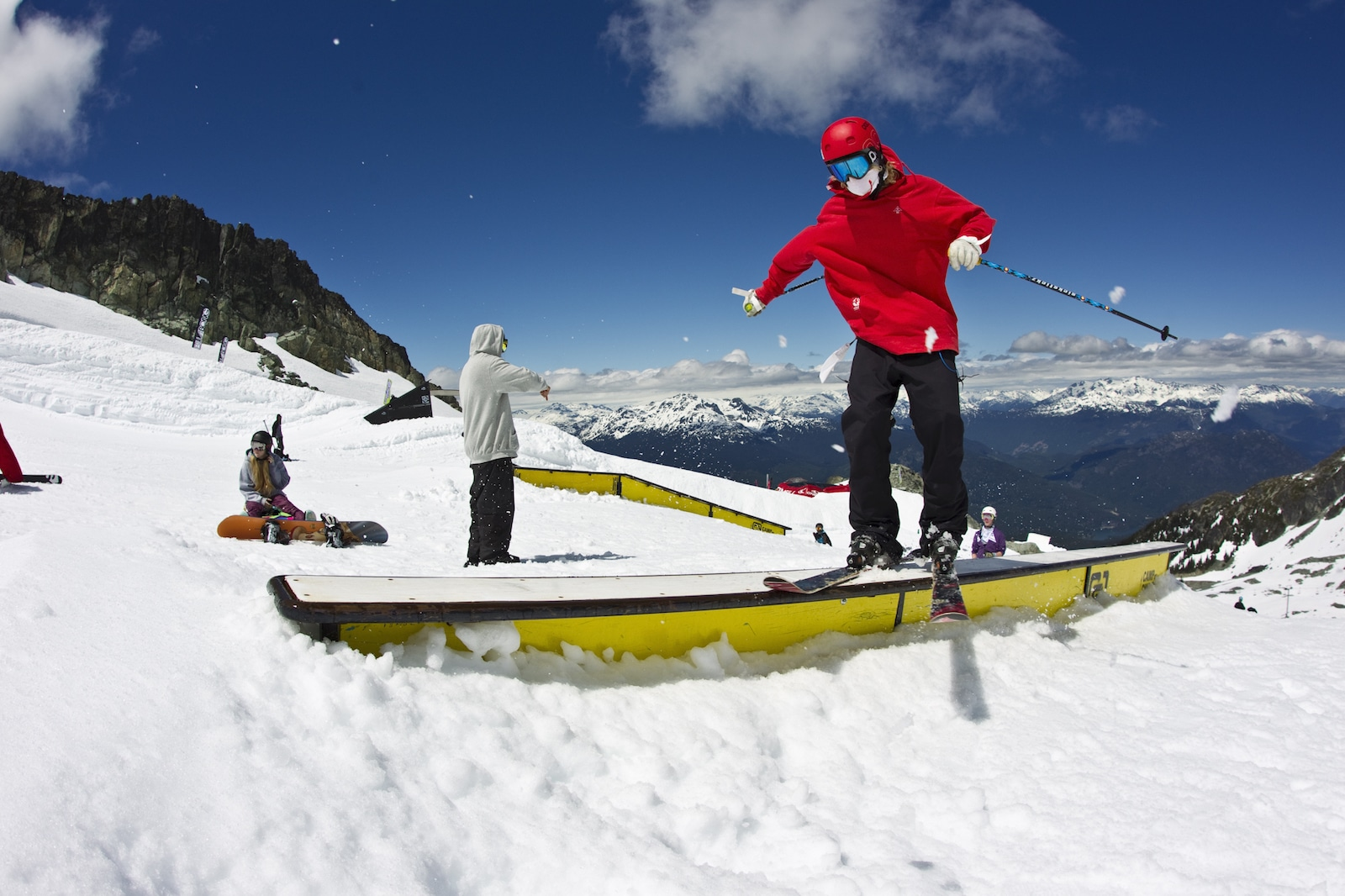 Image of a skier doing tricks at the terrain park at Whistler Blackcomb in Canada