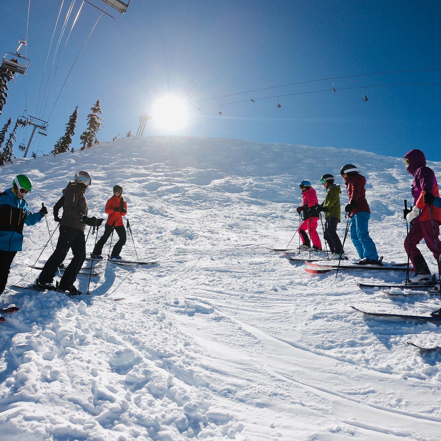 Image of a group of skiers at White Pass Ski Area in Washington
