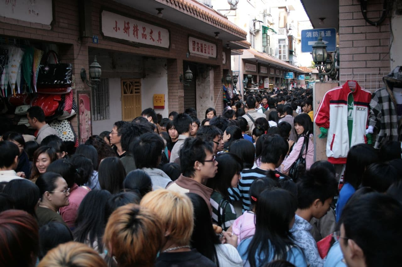 Chinese Masses of People in Guangzhou
