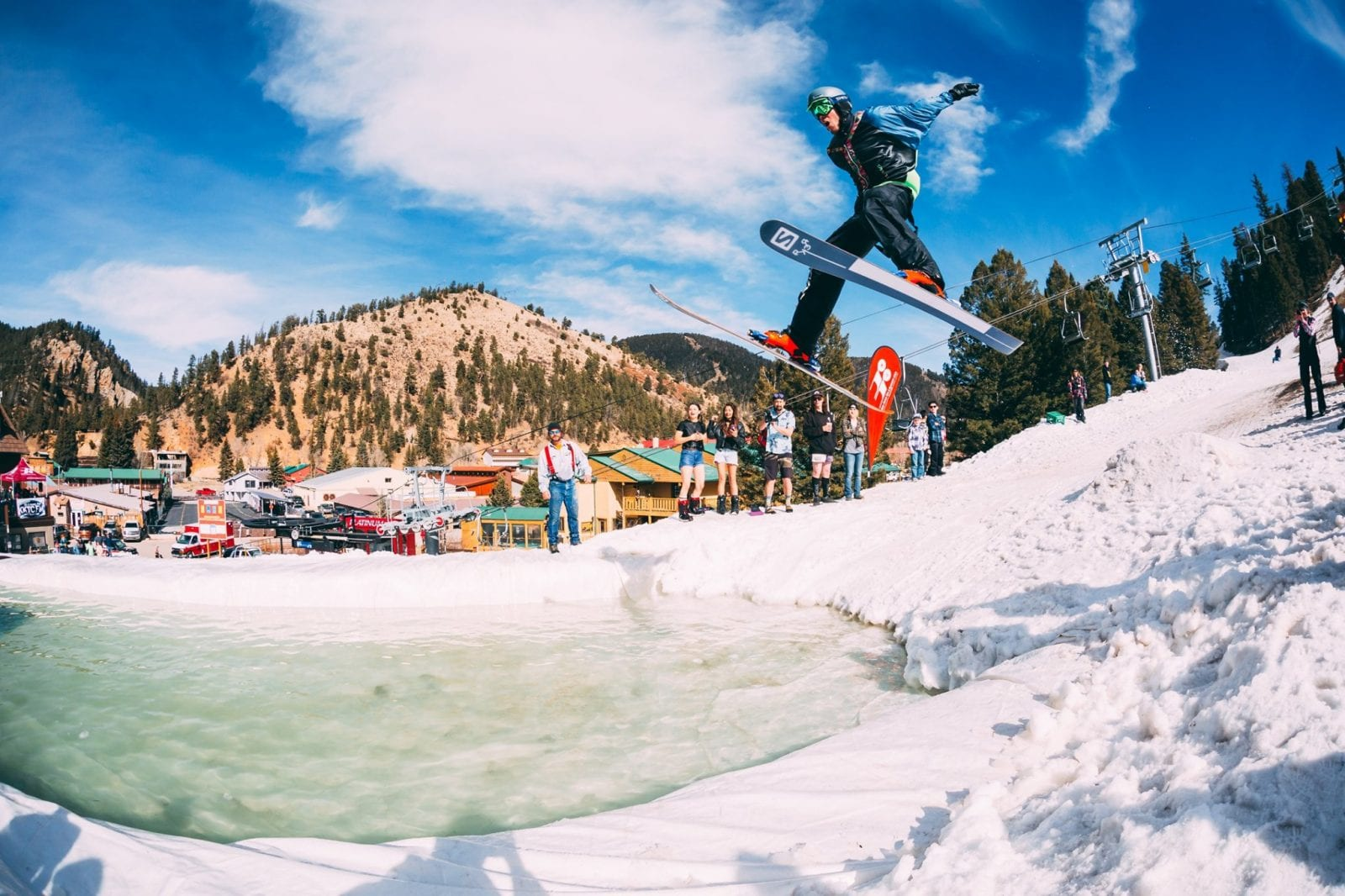 Image of a skier jumping a water pit at Red River Ski & Summer Area in New Mexico