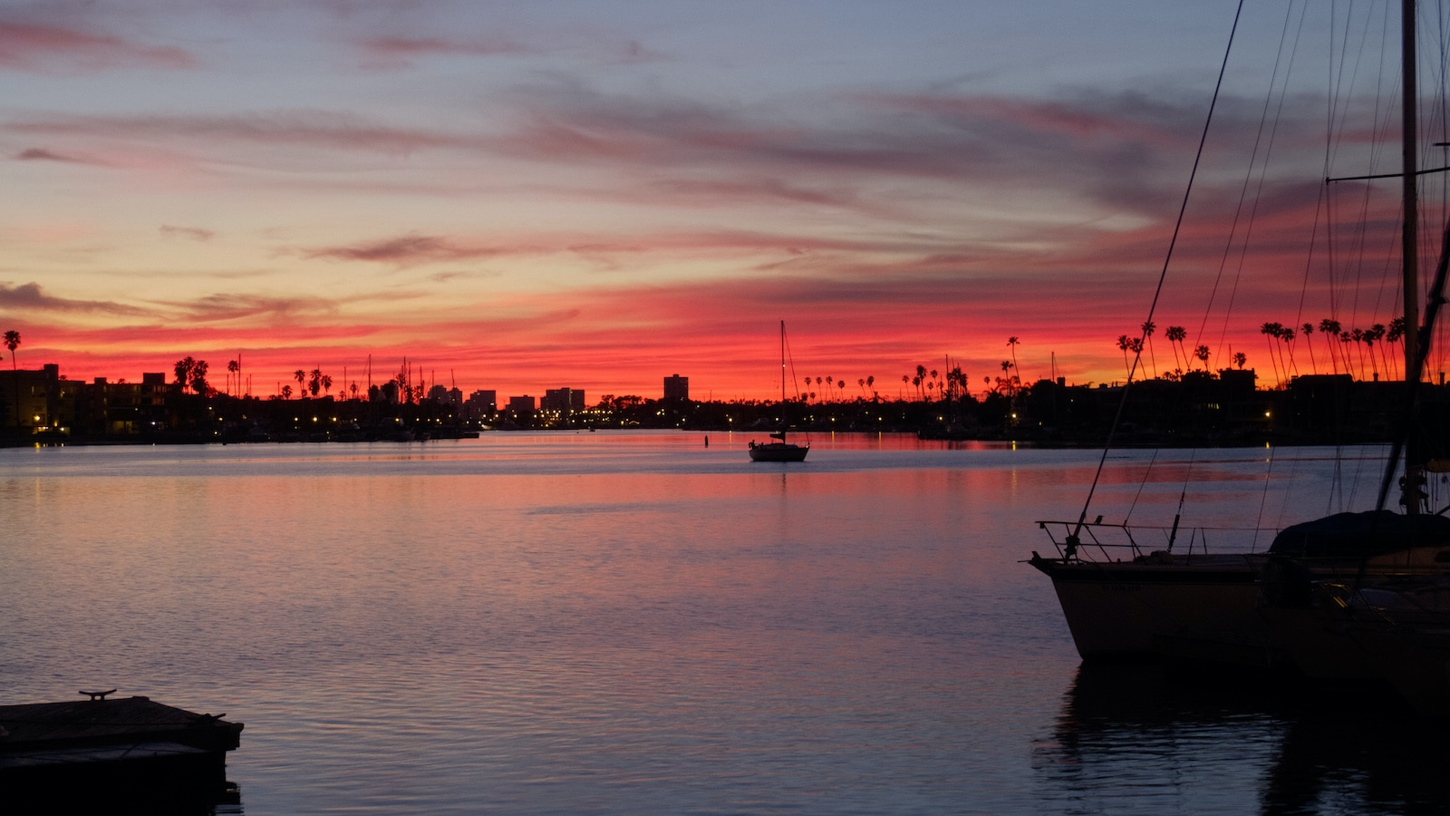 Seal Beach California Ocean Sunset Boats