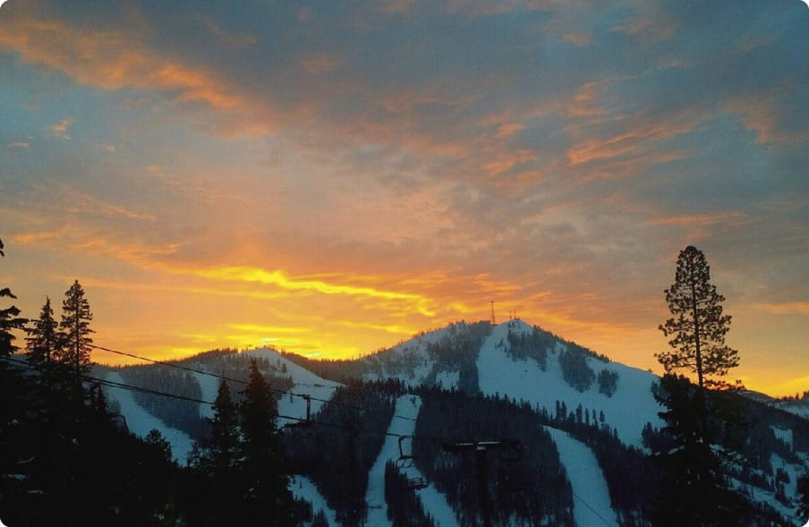 Image of a orange winter sunset at Silver Mountain in Idaho
