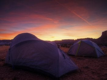 Tent Camping in Utah USA Sunset