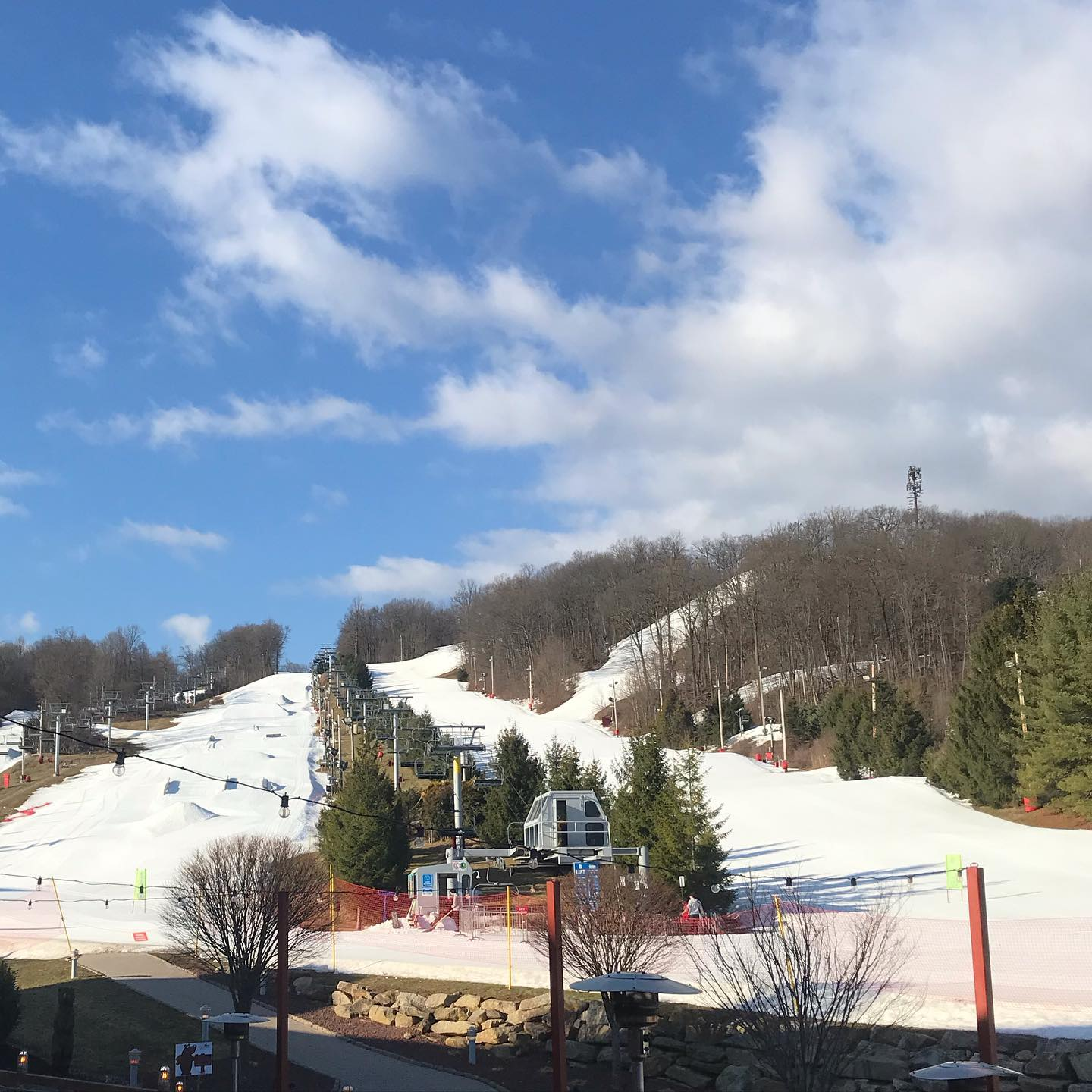 Image of artificial snow covering Bear Creek Mountain Resort in Pennsylvania