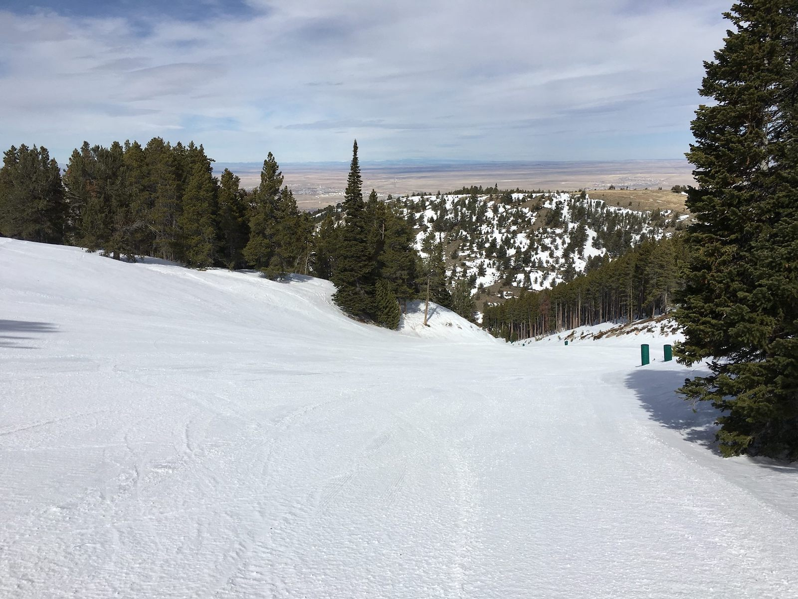 Image looking down one of the empty slopes at Hogadon Basin Ski Area in Casper, Wyoming